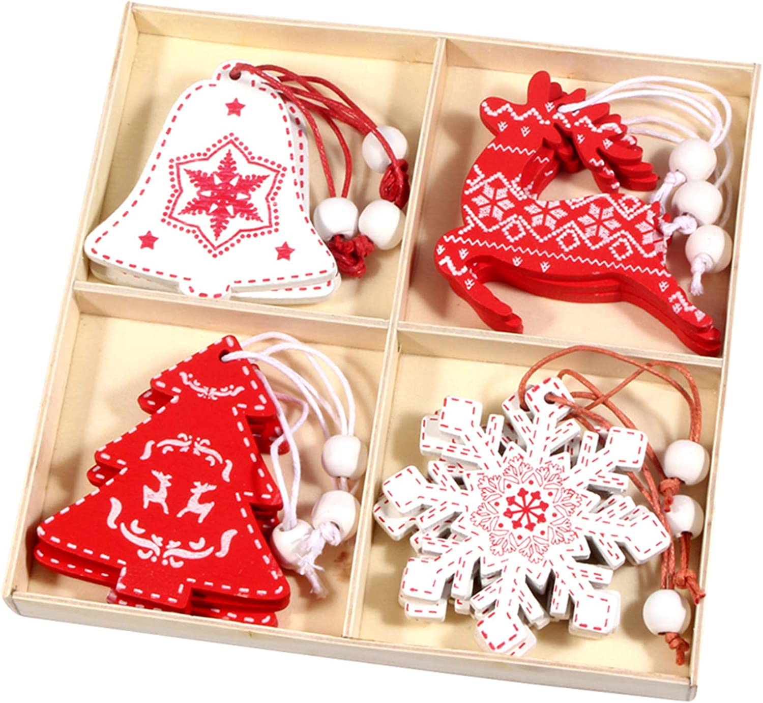 12 Pcs Christmas Ornament Set - Wooden Christmas Theme Hanging Decoration - Xmas Ornament Decor for Christmas Tree, Door, Party, House - Contain Santa, Elk, Snowflake, Bell, etc, More Theme Styles