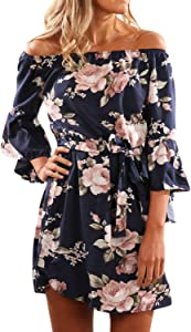 Sweepstakes: Women Elegant Dress Floral Off Shoulder Bell Sleeve Belted…