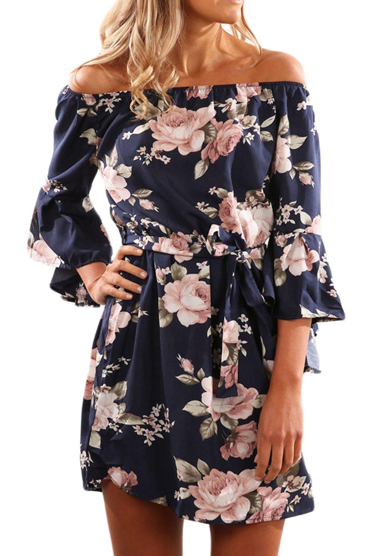 Toppshe Women Floral Print Off Shoulder Maxi Dresses Summer Boho Short Sleeve Beach Dress