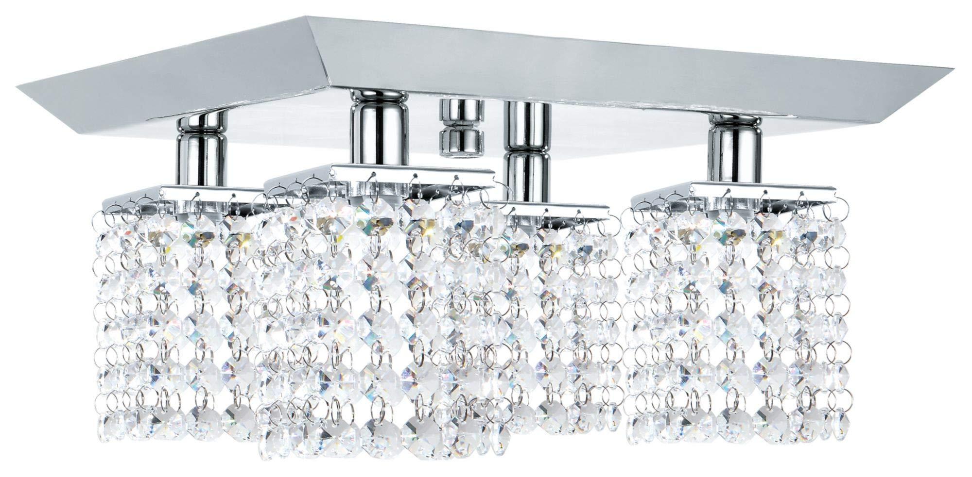 NOMA Track Light Kit | Adjustable Semi-Flush Mount Ceiling Light Fixture | Perfect for Kitchen, Hallway, Living Room & Bedroom | Crystal Finish, 4-Light