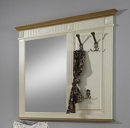 Perchero de pared con espejo - abeto parte sólida - marfil ...
