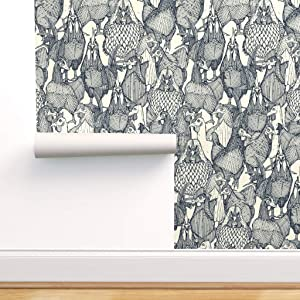 Spoonflower Peel and Stick Removable Wallpaper, Birds Farm Farming Chickens Rooster Wyandotte Food Animal Indigo Blue Ivory Sharon Turner Print, Self-Adhesive Wallpaper 24in x 36in Roll