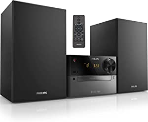 Philips Bluetooth Stereo System for Home with CD Player, Wireless Streaming, MP3, USB, Audio in, FM Radio, 15W, Micro Music Sound System
