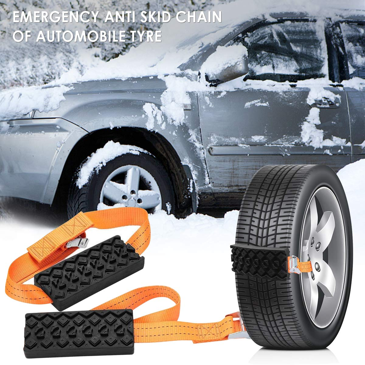 Auto Anti-Skid Rubber Block Anti-Slip Wheel Belt Traction Cable Chain for Vehicle Truck SUV Winter Driving Emergency on Snow Ice Sand Mud Road Dibiao 2 PCS Universal Car Tire Snow Chains