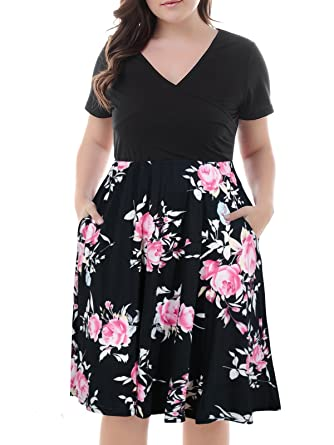 38d66ff6e12 Nemidor Women s V-Neck Print Pattern Casual Work Stretchy Plus Size Swing  Dress with Pocket
