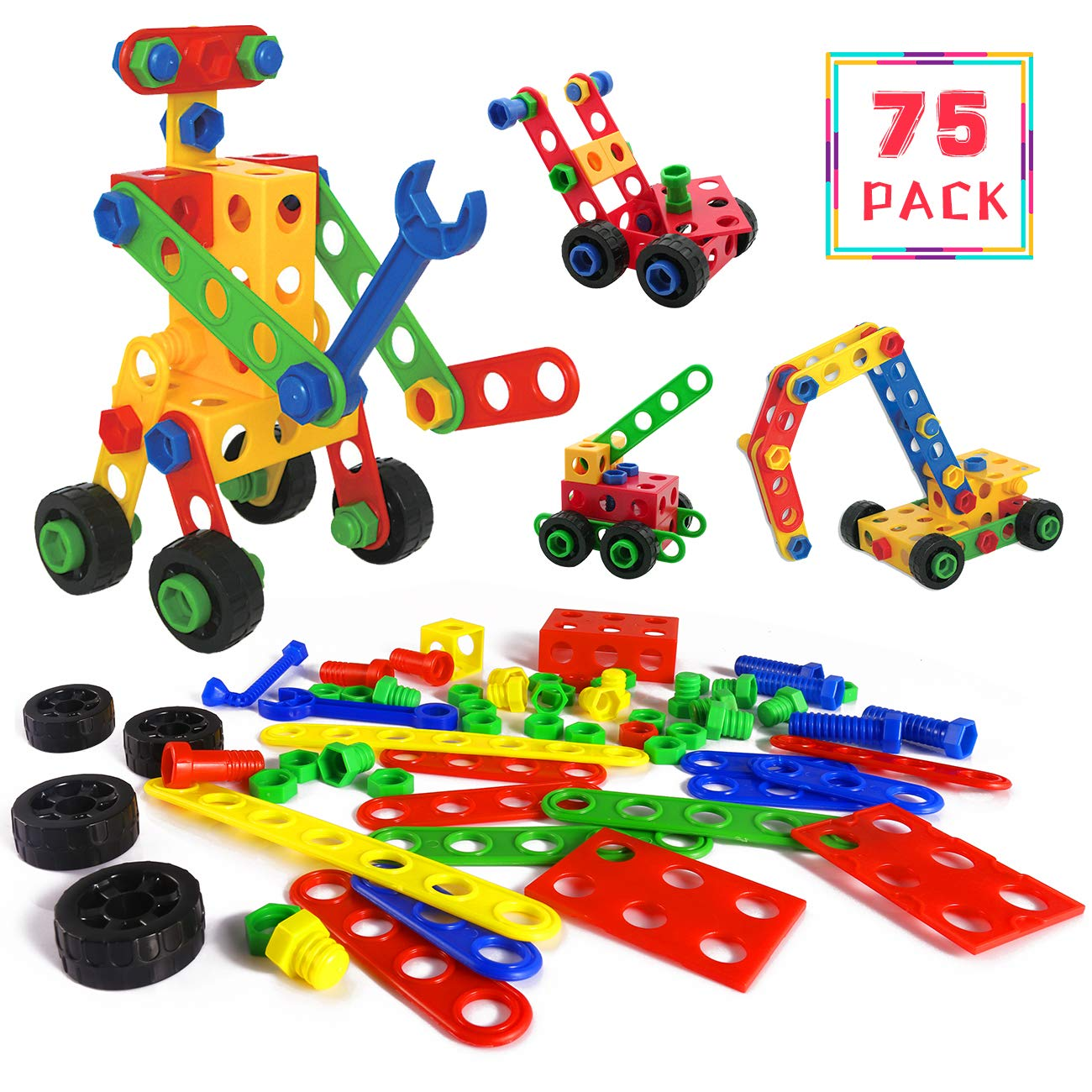 HALOFUN 75PCS STEM Toys Kit, Educational Construction Engineering Building Blocks Learning Set for Boys & Girls