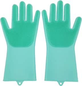 Set of 2 Pairs 100% Silicone Gloves with Wash Scrubber, Reusable Brush Heat Resistant Kitchen Tool for Cleaning, Dish Washing, Car Washing, Pet Hair Care (Light Green)