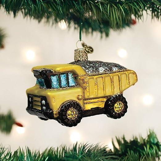 YELLOW SCHOOL BUS EUROPEAN BLOWN GLASS CHRISTMAS TREE ORNAMENT