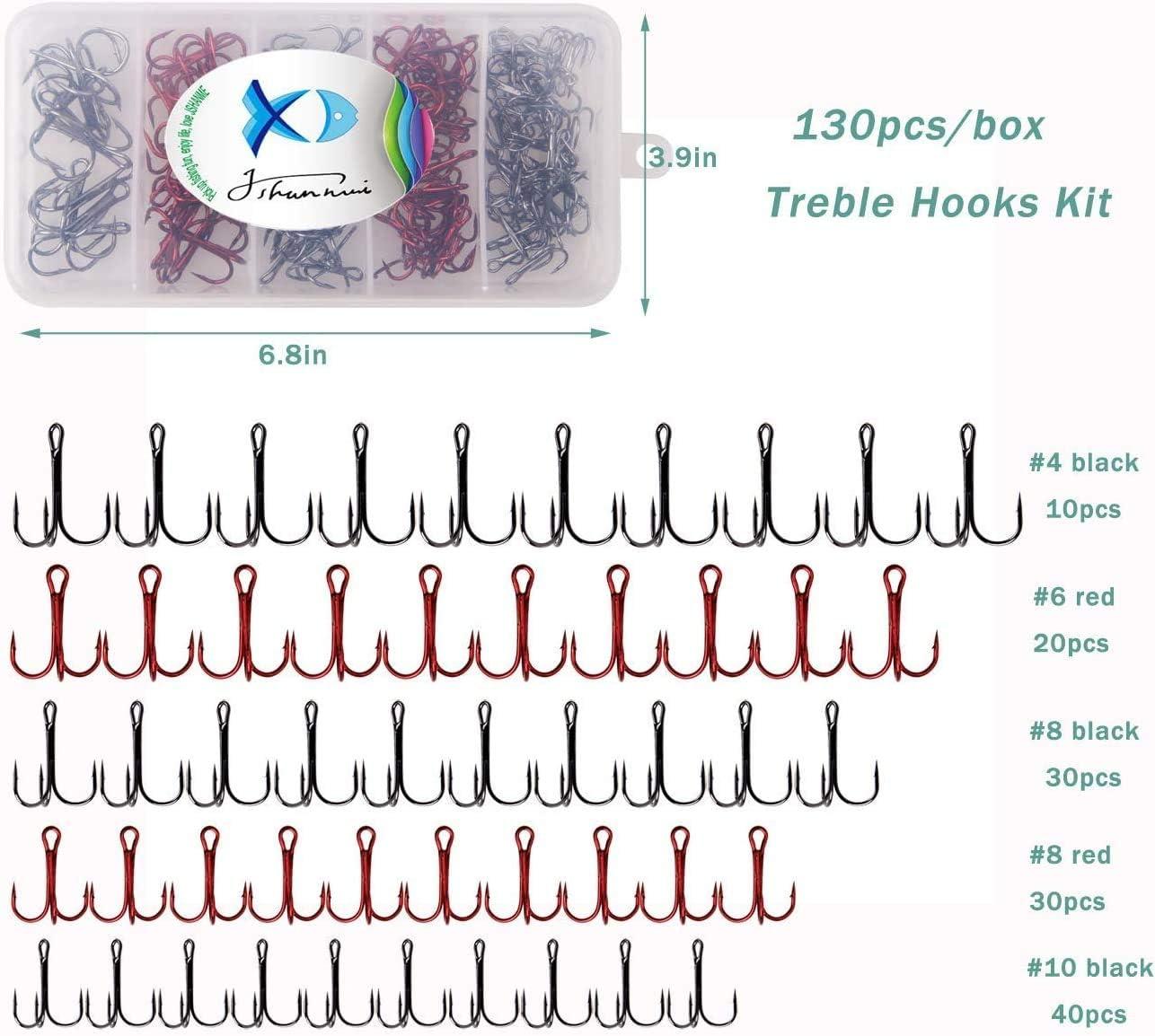 10/# 8/# 6/# JSHANMEI/® 130pcs//Box Round Bend Classic Treble Haken Extra scharfe High Carbon Stahl Angelhaken Set mit Tackle Box-Size: 4/#