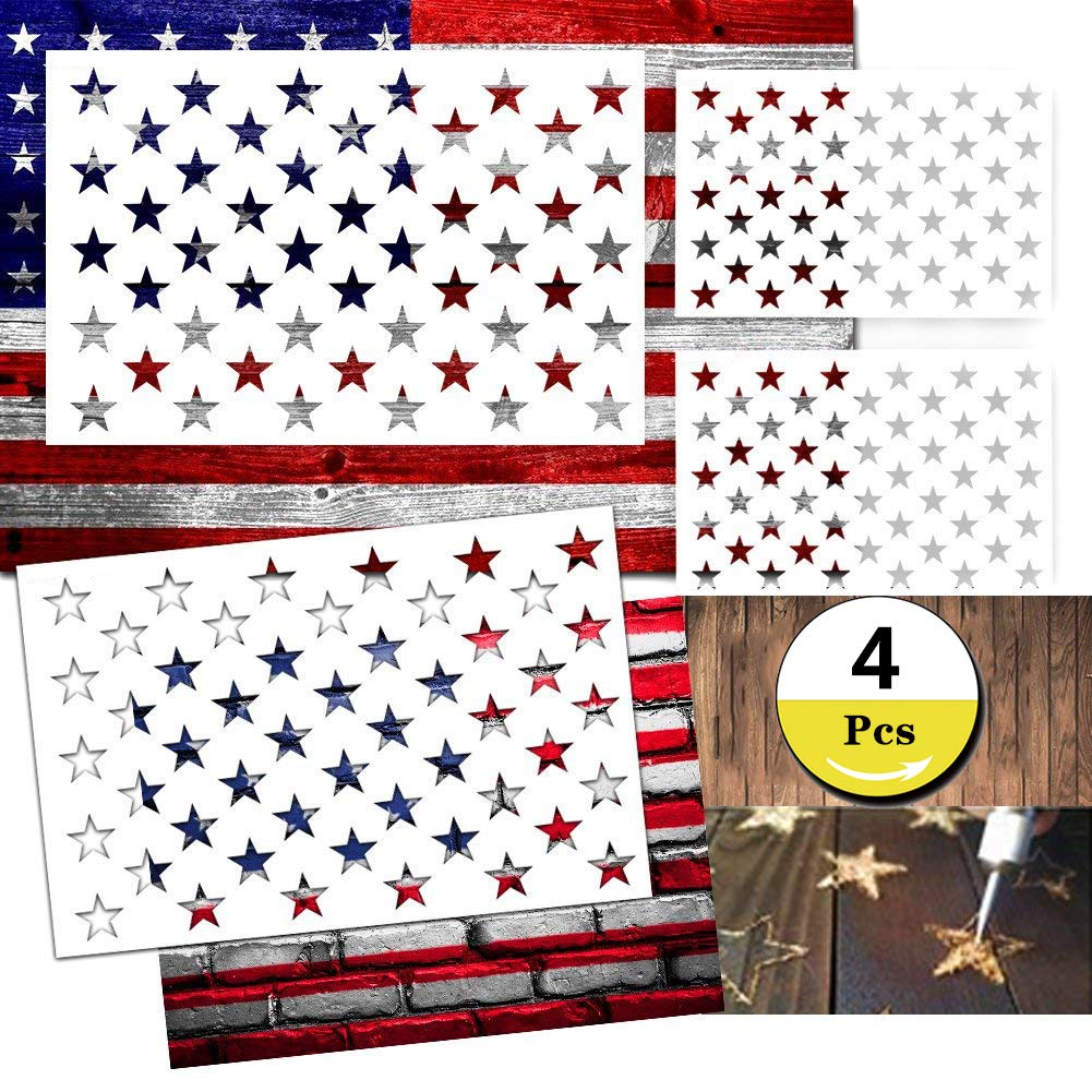 Star Stencil 50 Stars American Flag Stencils for Painting on Wood, Fabric, Airbrush,Reusable Starfield Stencil, (1 Large, 3 Small) Etyhf06215