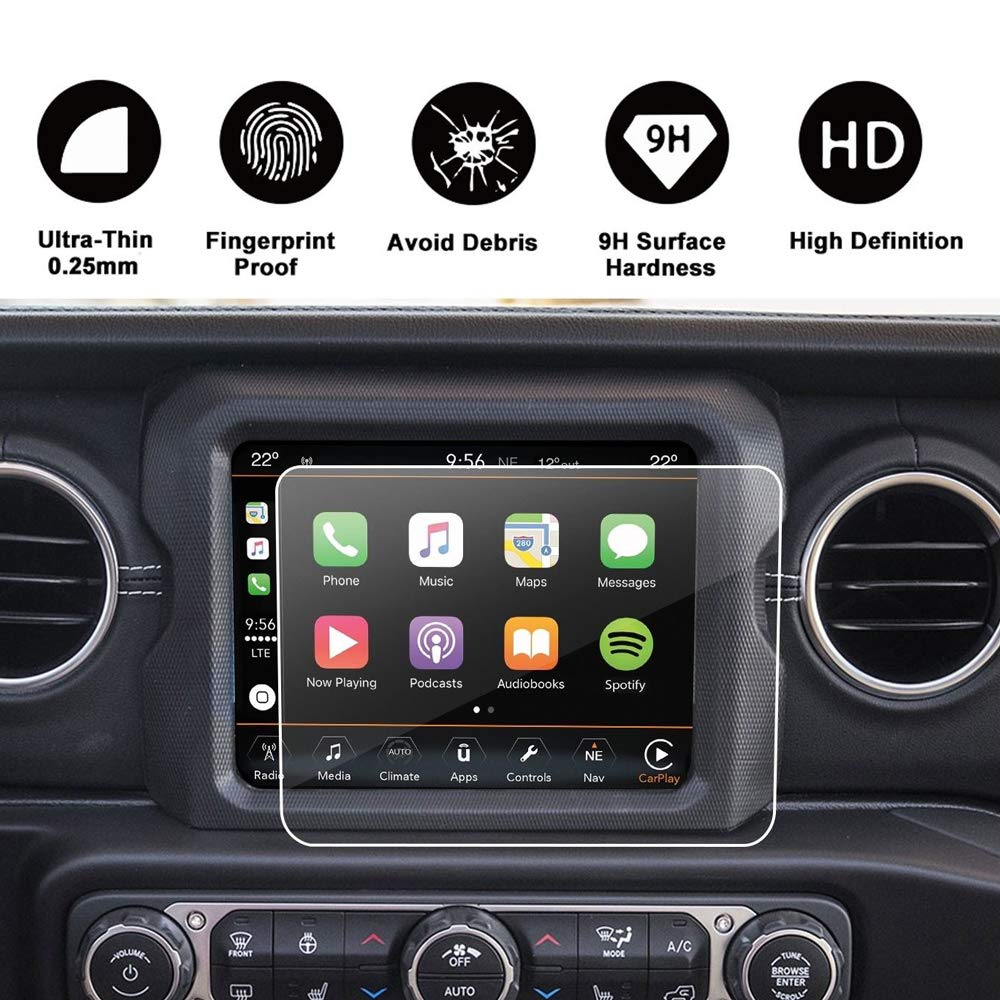 Micephon GPS Navigation Screen Protector Film 8.4inch Tempered Glass for Jeep Wrangler JL 2018, 2 Pack