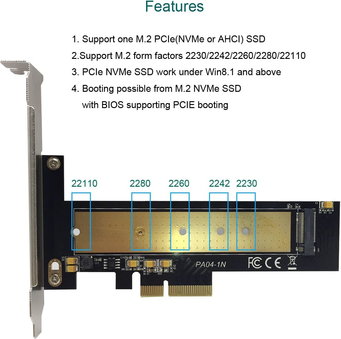 glotrends M.2 PCIe NVMe or PCIe AHCI SSD to PCIe 3.0 x4 Adapter ...