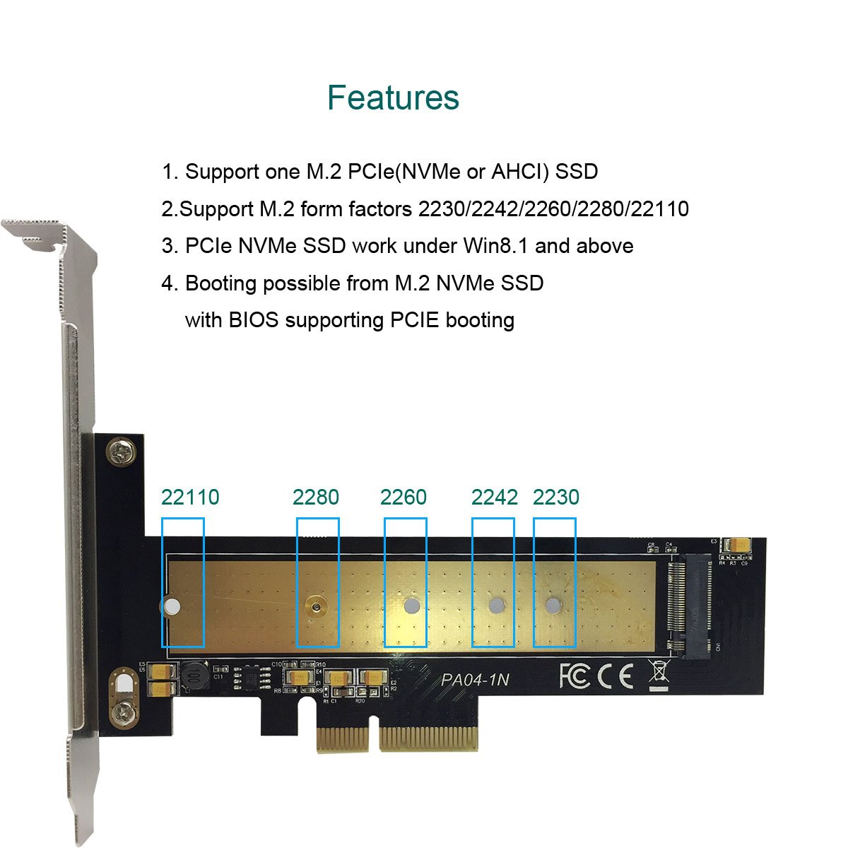 glotrends M 2 PCIe NVMe or PCIe AHCI SSD to PCIe 3 0 x 4