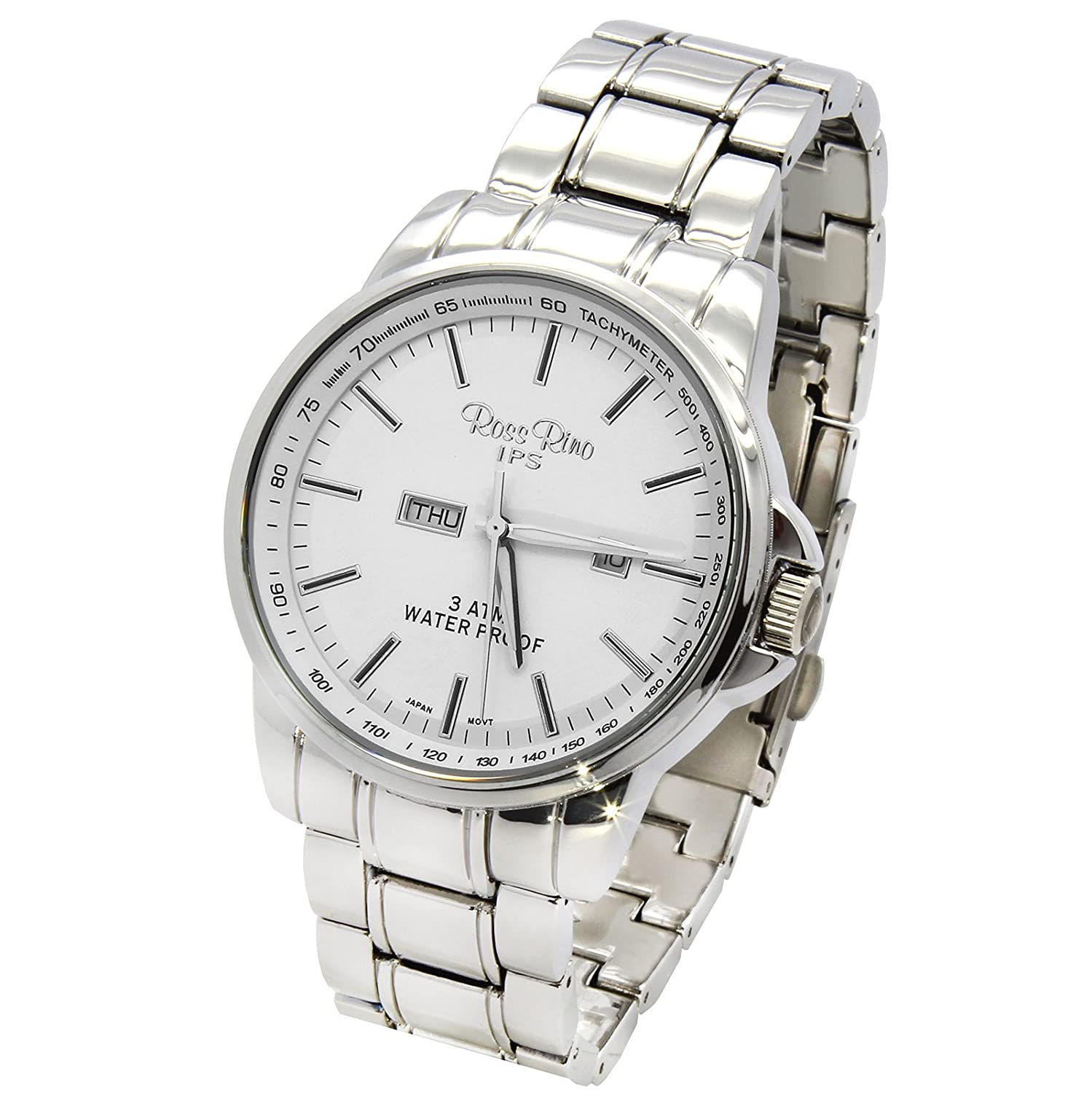 Amazon.com: Ross Rino Mens Silver Tone Stainless Steel Metal Band Silver Face watch with Day and Date and Date: Watches