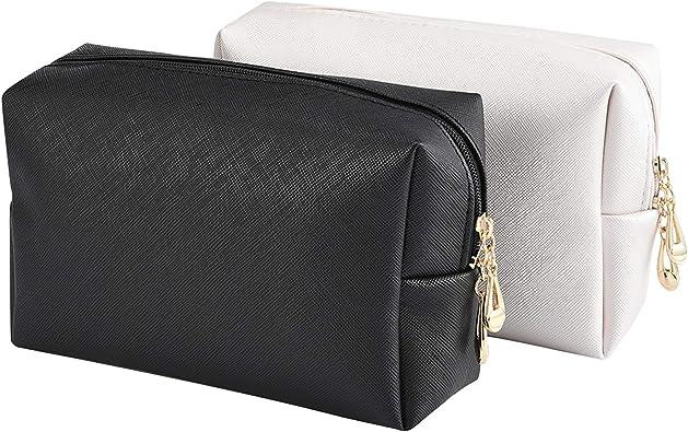 INSOUR 2 bolsas de maquillaje, bolsas de viaje impermeables para cosméticos, neceser para maquillaje, estuche para brochas para mujeres y niñas negro y blanco: Amazon.es: Zapatos y complementos