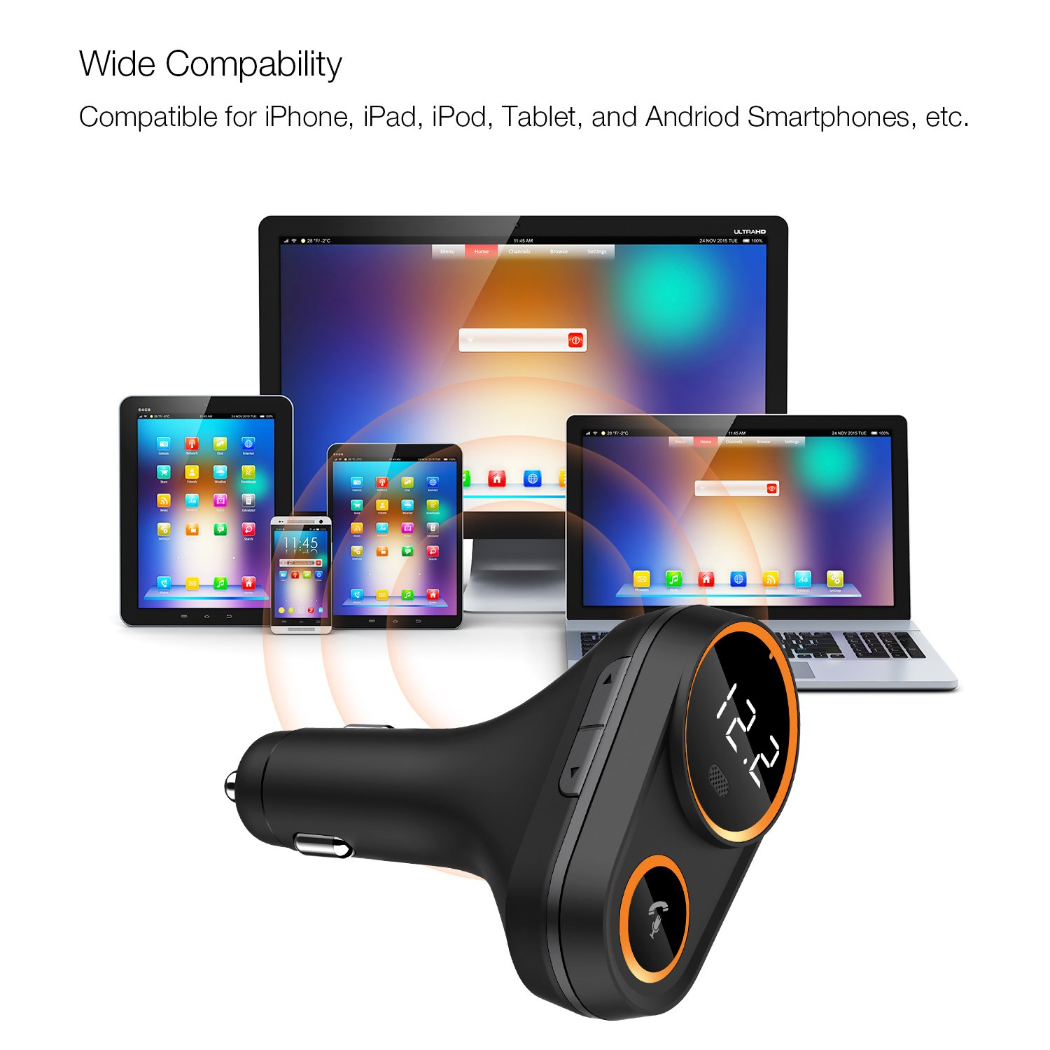 FM Transmitter, Frienda Wireless In-Car FM Radio Adapter 5 V/4.8 A Dual USB Ports Car Charger for iPhone iPad Samsung Android Phones, Hands-free Calling, MP3 Player, Support for Bluetooth by Frienda (Image #6)