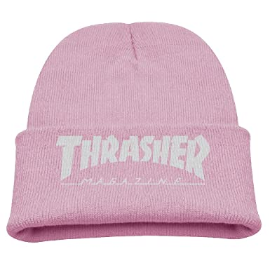 Amazon.com  Kids Toddler Thrasher Magazine Logo Winter Autumn Knitting  Beanies Hat Custom Your Own Skullies Caps And Hats Pink One Size Fits Most   Clothing 6c968a92d24