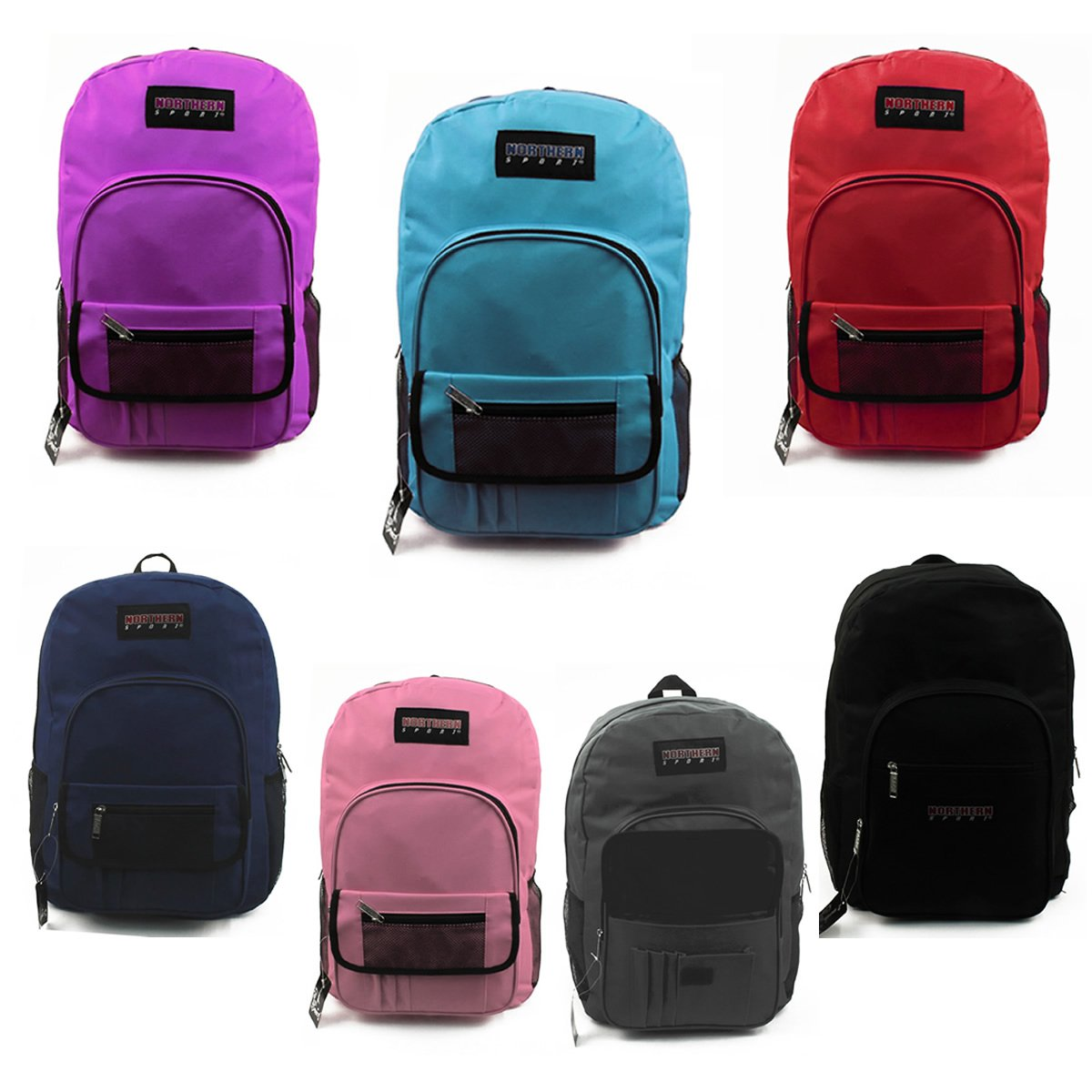 19'' WHOLESALE NORTHERN SPORT BACKPACKS 7 COLORS - CASE OF 24 - NS-B5998