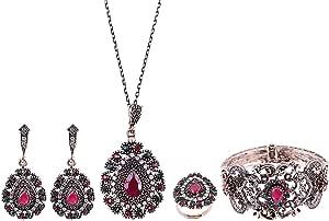 Love Pearl Green Jade Teardrop Jewelry Set - 5 Pieces
