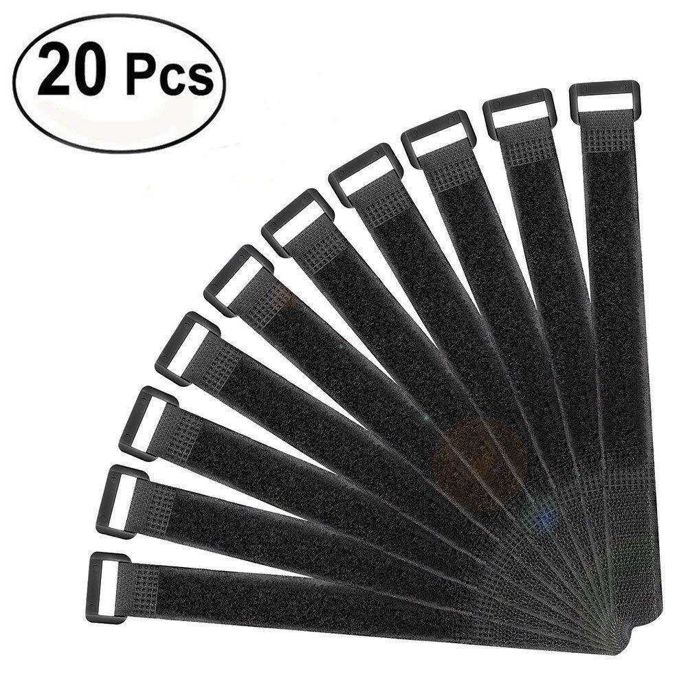 Kentop 20 NERO Fascette in Chiusura riutilizzabili 30 x 2.5 cm