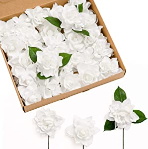 Ling's moment Artificial Flowers 25pcs White Gardenia Flowers w/Stem for DIY Wedding Bouquets Centerpieces Flower Arrangements Decorations