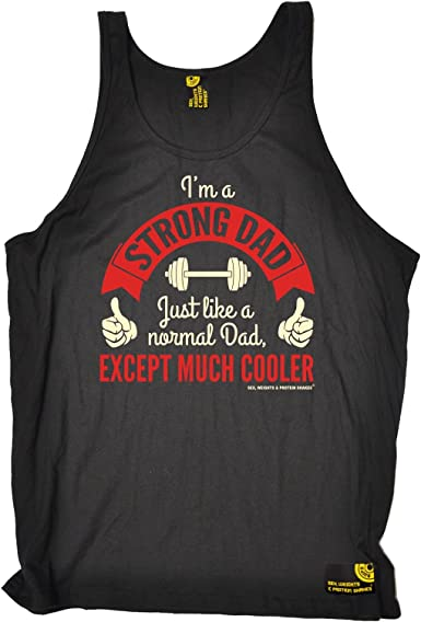 Gym Bodybuilding Vest Funny Novelty Singlet Jersey Top Im A Strong Dad