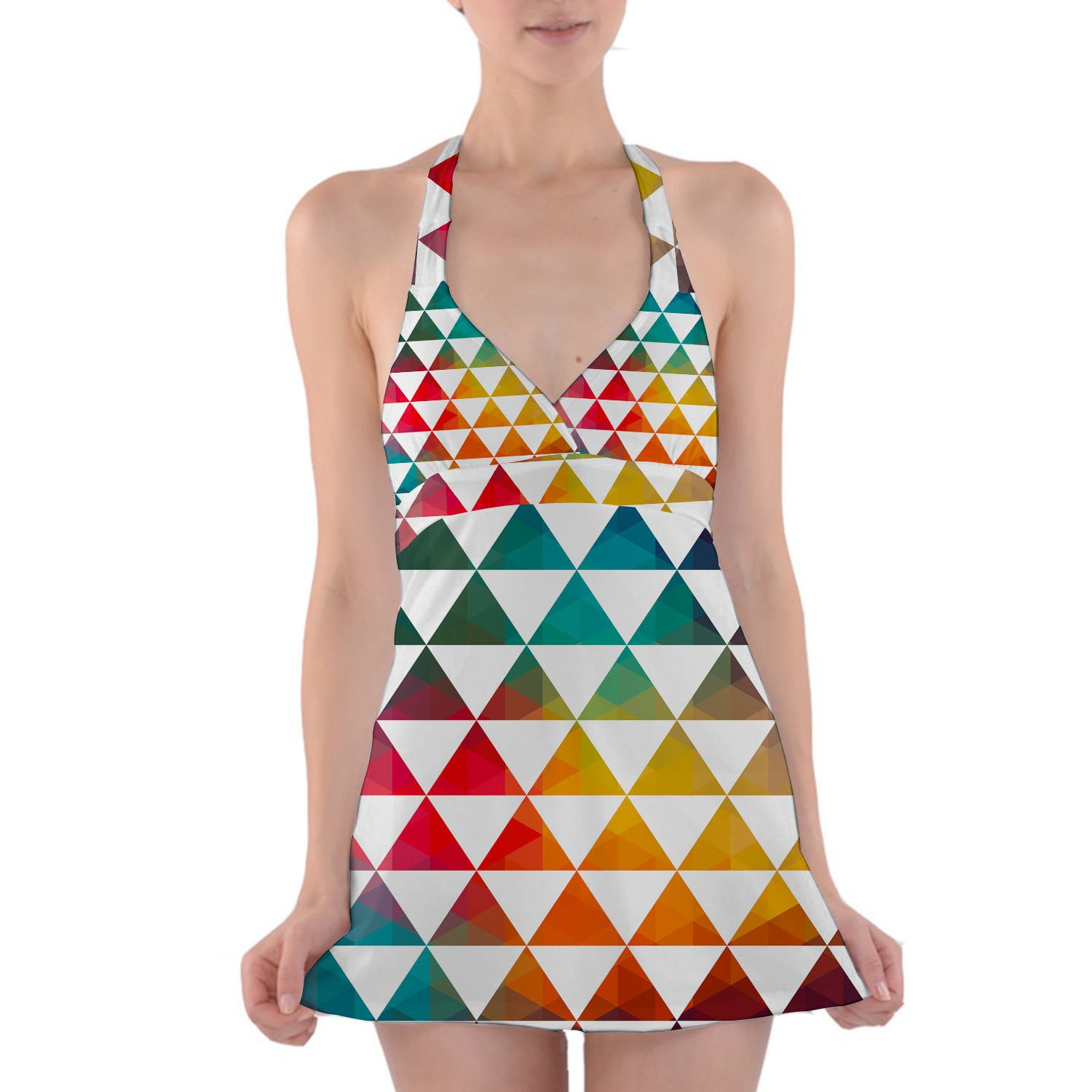 abf05174b Queen of Cases Geometric Triangle Rainbow Halter Swim Dress Swimsuit at  Amazon Women s Clothing store