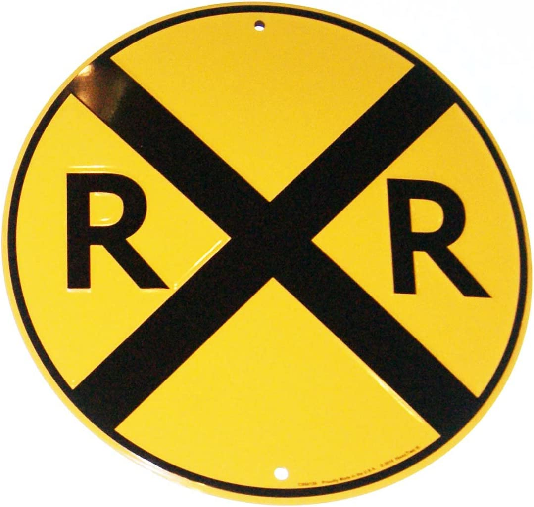 "Upfront RR Railroad Xing Crossing 12"" Road Sign Tin/Metal"
