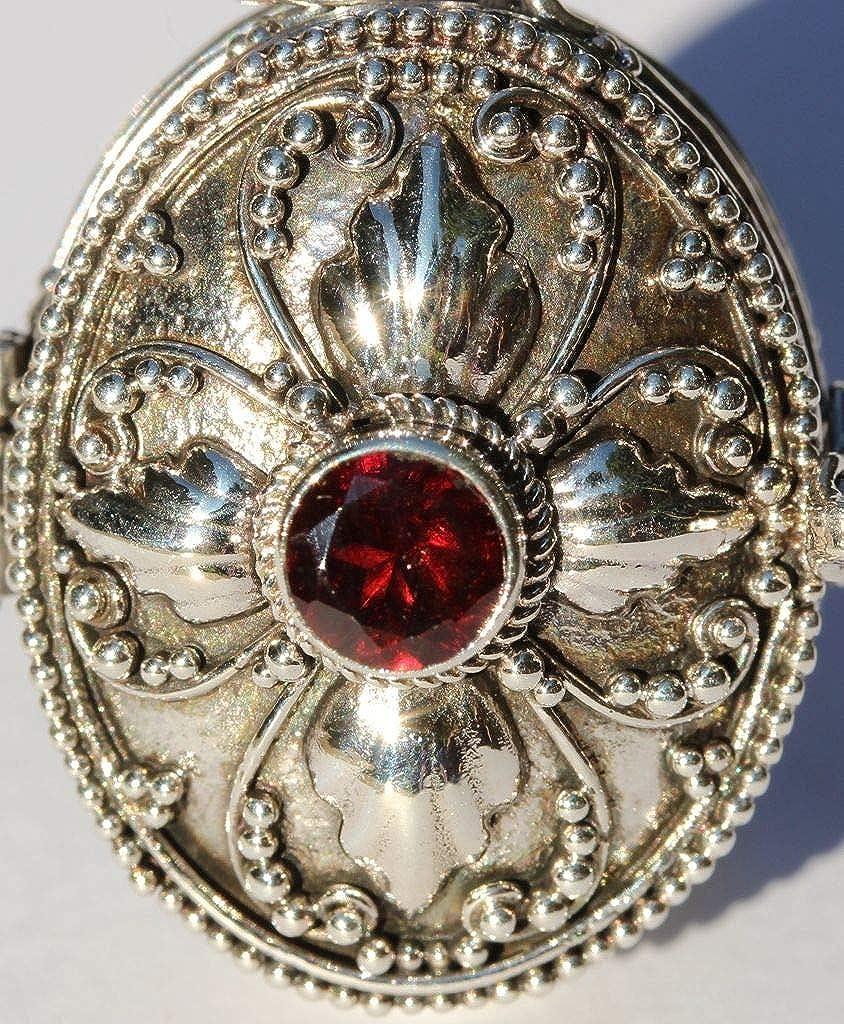 Windalf Pendentif en Forme de m/édaillon m/édi/éval avec Pierre de Granite Rouge Fait Main en Argent 3,4 cm