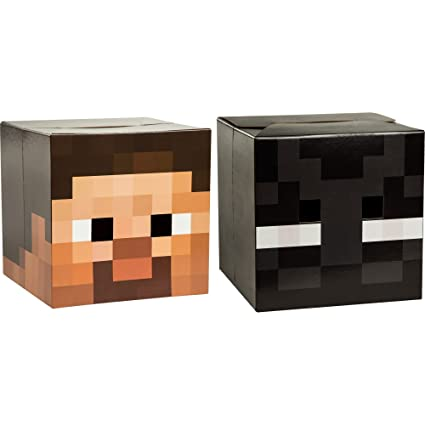 Amazon Com Jinx Minecraft Head Costume Mask Set Steve And Enderman