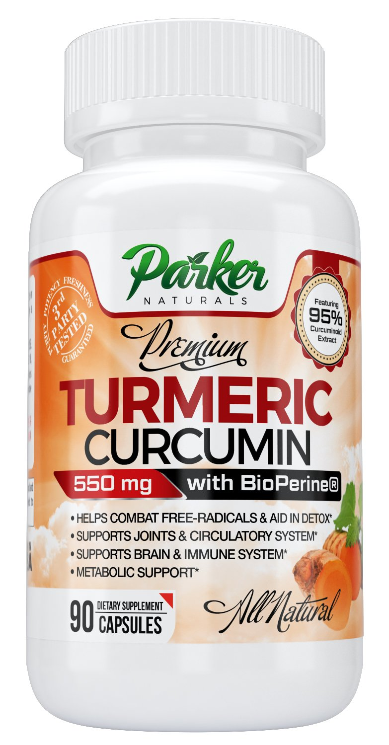Premium Turmeric Curcumin For Joint Health & Better Movement from Parker Naturals. Finest Blend with BioPerine to Enhance Absorption. Anti-Oxidant, Memory Support, Insulin Level. 550mg Veggie Tablets