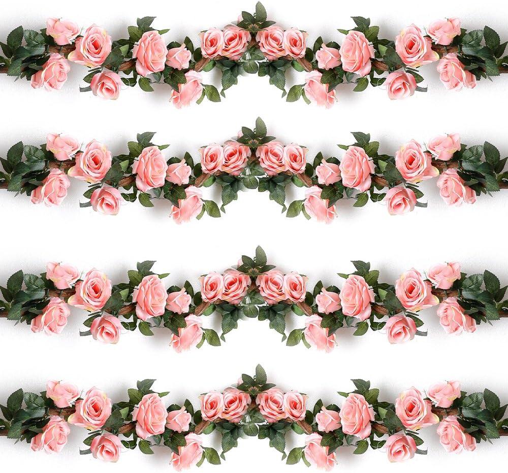 YILIYAJIA 4PCS(28.14 FT) Artificial Rose Vines Fake Silk Flowers Rose Garlands Hanging Rose Ivy Plants for Wedding Home Office Arch Arrangement Decoration(Pink)
