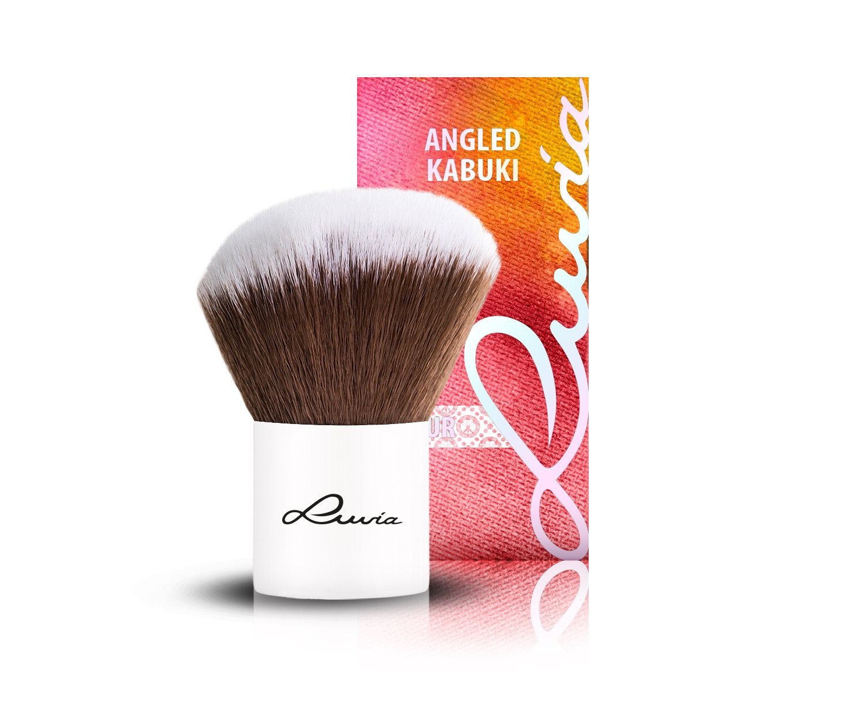 Luvia Cosmetics – Le Jour – II - Angled Hair Kabuki – Make Up Kosmetikpinsel Kabuki im elegantem Weiss - Liebevoll und Traditionell Handgefertigt - Vegan LC-BR-KJ1-2