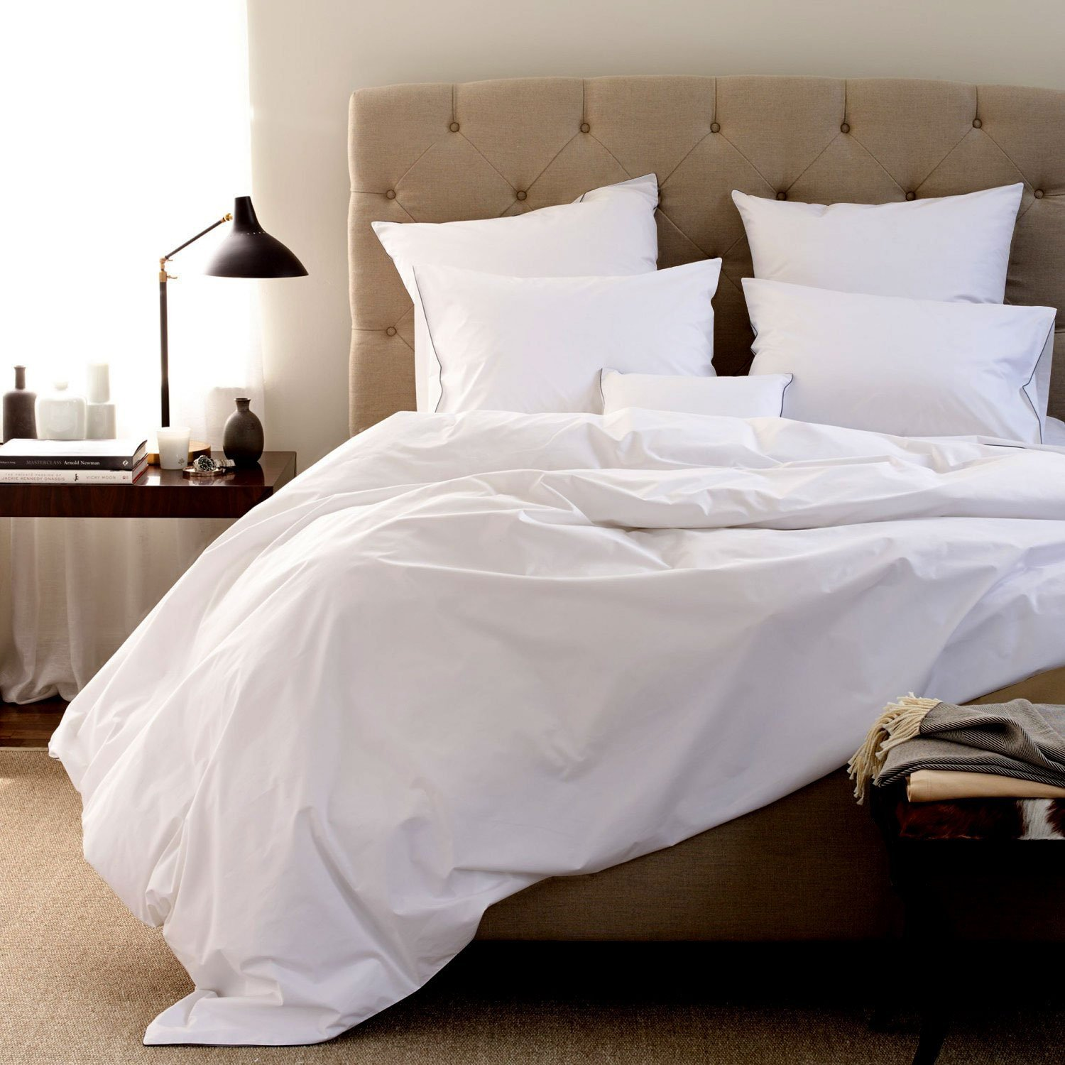 Organic Bed Sheets- sheets are comfortable and ultra-soft & silky# 100% Organic Cotton Sheet Set – Made in India 600 Thread Count - 4pc Bed Sheet Set With 15 INCHES DEEP POCKET (KING, SNOW)