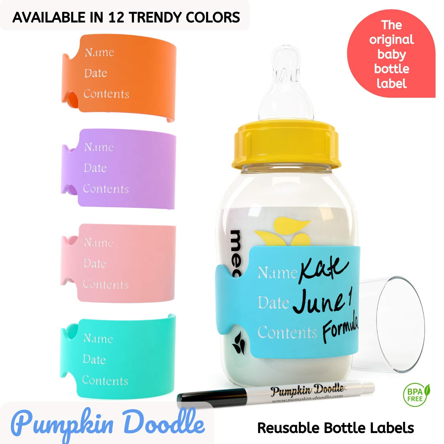 The Original Write and Reuse Baby Bottle Labels for Daycare - Available in 11 Colors- Includes 4 Labels and 1 Dry Erase Marker by Pumpkin Doodle