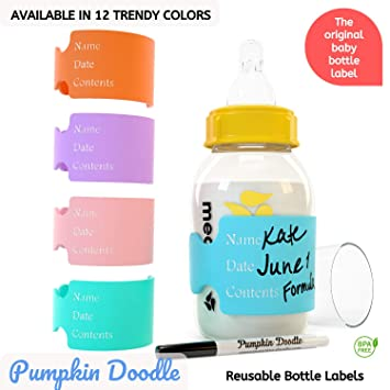 The Original Write and Reuse Baby Bottle Labels for Daycare - Available in  11 Colors- Includes 4 Labels