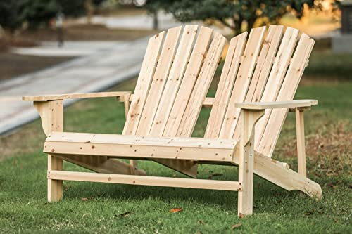 LOKATSE HOME Outdoor Wooden Adirondack Bench Loveseat Double Patio Chair Natural