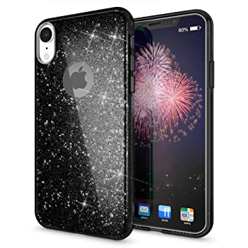Coovertify Funda Purpurina Brillante Negra iPhone XR, Carcasa Resistente de Gel Silicona con Brillo Negro para Apple iPhone XR (6,1