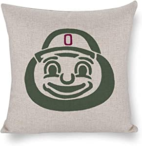 Nonebranded Pillowcase Ohio State Brutus Buckeye Gifts Decorative Throw Pillow Covers, Cushion Cases or Pillow Cases for Couch, Sofa, Bedroom 18 X 18 Inches Cushion Cover for Home Décor or Farmhouse