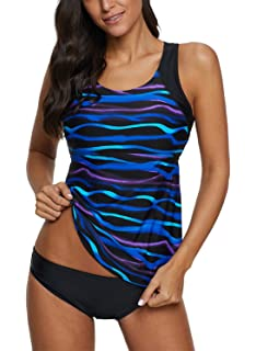 5a068d0f3d Aleumdr Womens Bandeau Printed Tankini Top with Triangle Briefs Swimsuit  Swimwear