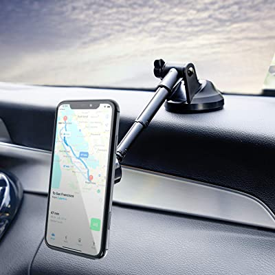 Amoner Magnetic Phone Car Mount, Universal Phone Holder for Car Dashboard Windshield, One Hand Operation, Compatible with iPhone 11pro 11 X Xs 9, Samsung S10+ 10 S9+ 9 and More Smartphone