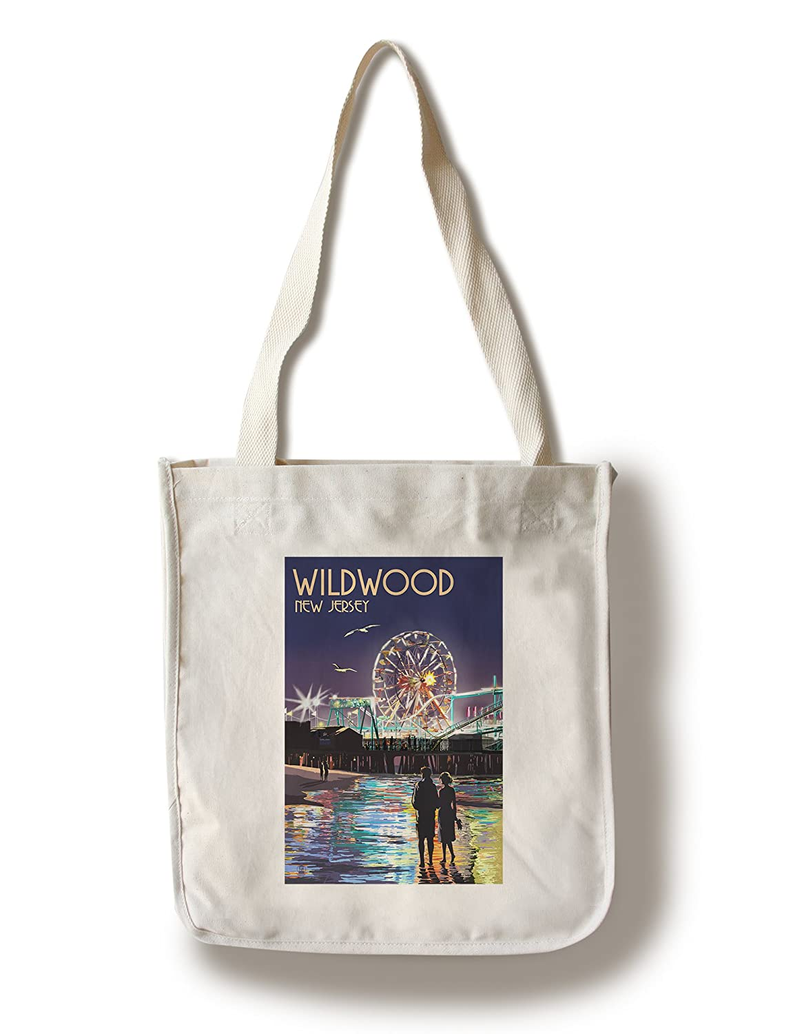 Wildwood、新しいジャージー – Pier and Rides at Night Canvas Tote Bag LANT-44695-TT B01841B1HC  Canvas Tote Bag