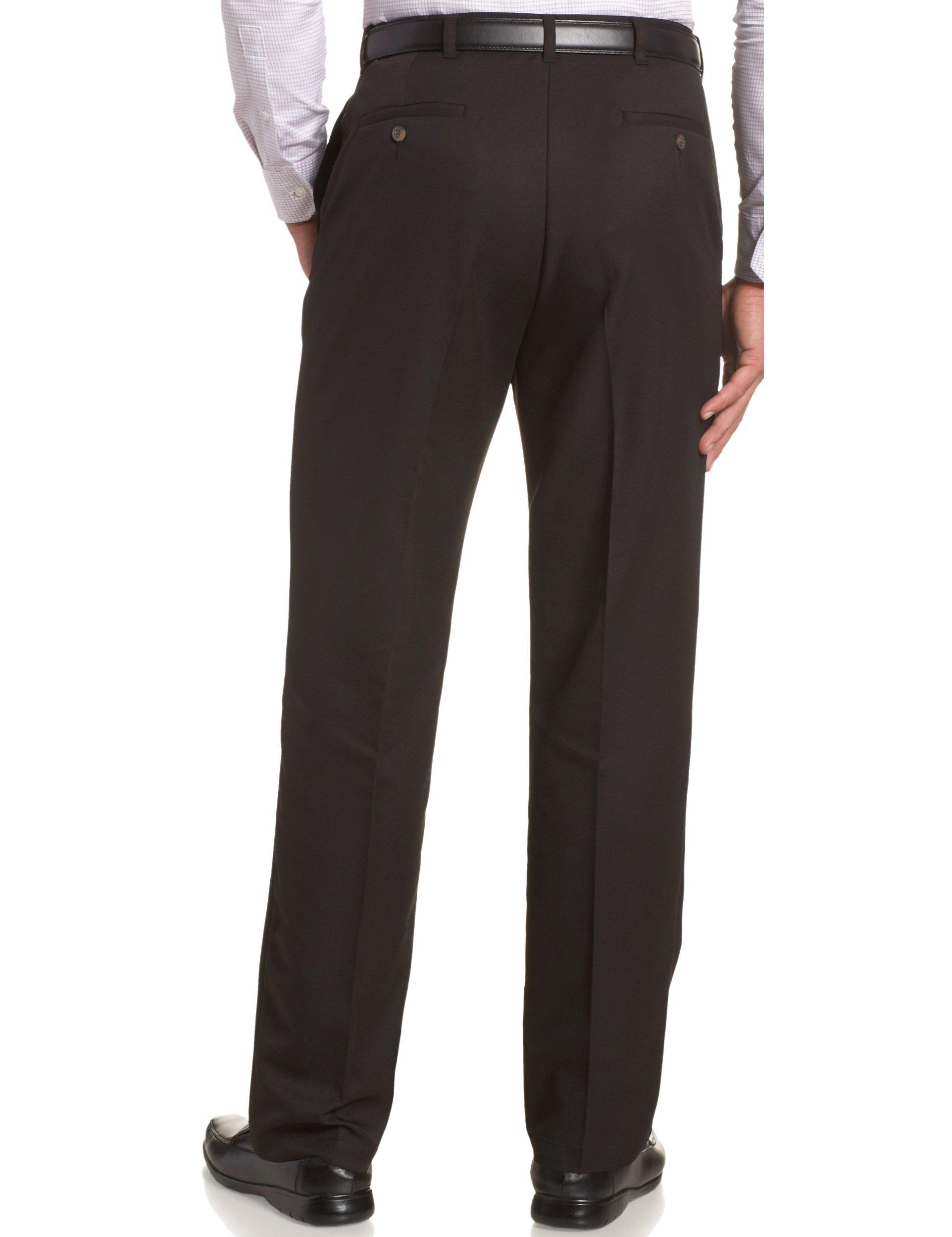 Haggar Men's Cool 18 Hidden Comfort Waist Plain Front Pant,Black,38x29 by Haggar (Image #2)