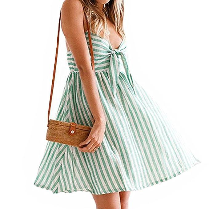 Lananas Women 2018 Summer Sleeveless Striped Pattern High Waist Bowknot Tie Dress Beach Party