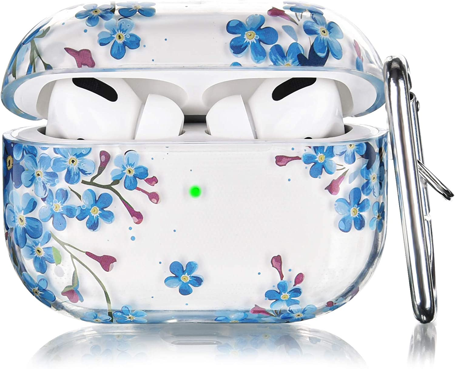 V-MORO Compatible with Airpods Pro Case Women, Cute Clear Airpod Pro Cover Transparent Protective Case Girl for Apple Airpods Pro [Front LED Visible] Charging Skin Blue Flower