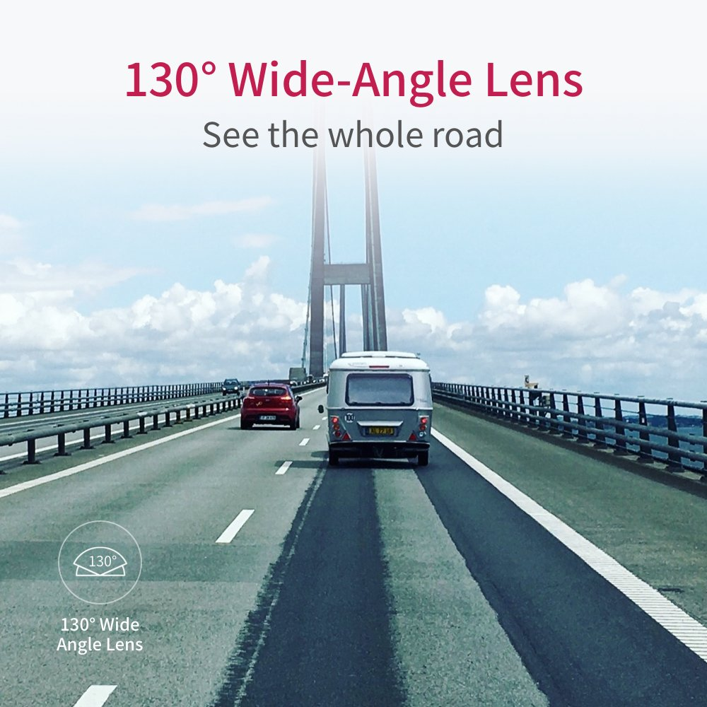 "YI Compact Dash Cam, 1080p Full HD Car Dashboard Camera with 2.7"" LCD Screen, 130° WDR Lens, G-Sensor, Night Vision, Loop Recording - Black by YI (Image #3)"
