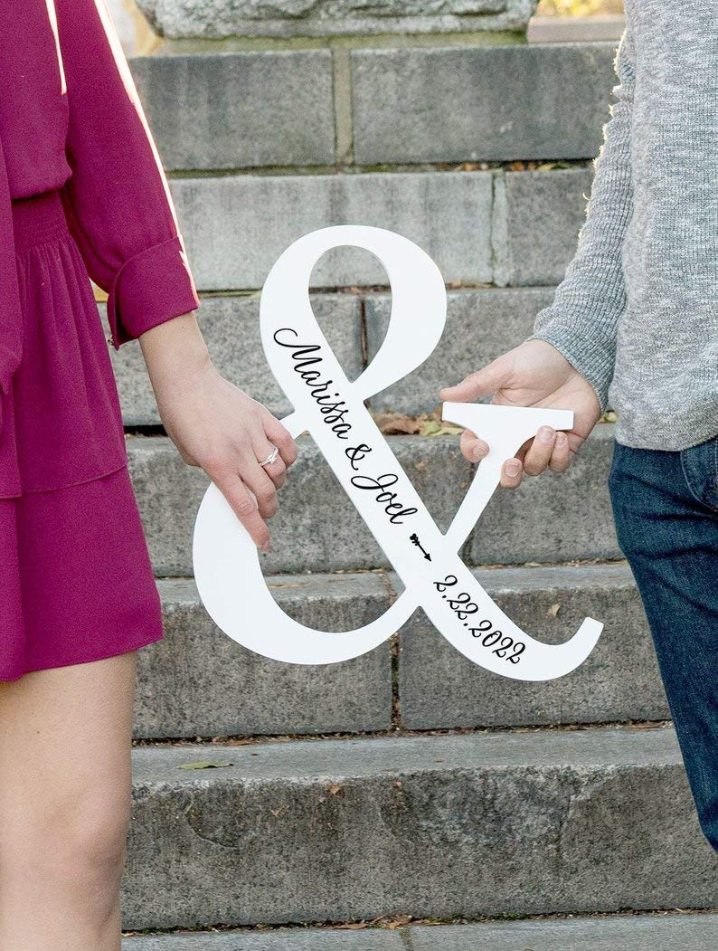 Ampersand Sign Wedding Gift Personalized Home Decor or Photo Prop Engagement Sign Wooden Ampersand with Names Wedding