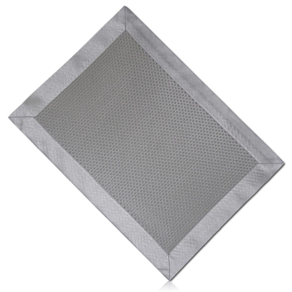 """Unique & Custom {13'' x 18'' Inch} Single Pack Rectangle """"Smooth Texture"""" Large Reversible Table Placemats Made of Washable Genuine Flexible Cloth w/ Basketweave Sew In Steel Metal Shade Design [Grey] by mySimple Products"""
