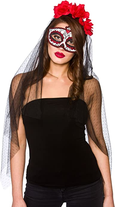 Day Of The Dead Senorita Mask Veil Halloween Fancy Dress Accessory New Mexican