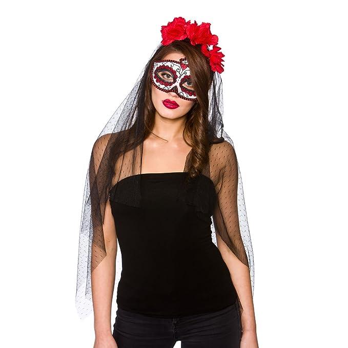 Amazon.com: Día de los muertos Deluxe Máscara & velo: Clothing